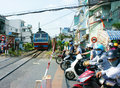 Train, railway cross Ho Chi minh residence area Royalty Free Stock Photo