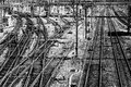 Train railways multiple and tracks in black and white Royalty Free Stock Photos