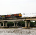 Train ran on bridge Stock Image