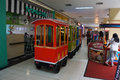 Train rides visitors were riding in the shopping center in karanganyar central java indonesia Royalty Free Stock Photography