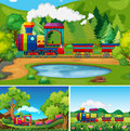 Train riding in the countryside scenes