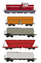 Train set freight wagons and locomotive color of bulgarian cars Stock Images