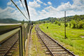 Train in sri lanka from colombo to the mountains the middle of Royalty Free Stock Photo