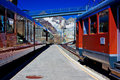 Train station alps high mountain Stock Photo