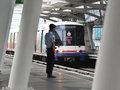 Train at a station bts skytrain pulls into in the city centre on april in bangkok thailand each of the mass transport rail network Stock Images
