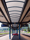 Train station in busteni romania the structure of a the mountain resort Stock Image
