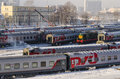 The train station in moscow in the winter trains with Stock Image