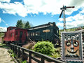 Train station old trains in roscoe ny in the catskill mountains Stock Images