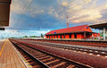 Train station platform with clouds Stock Photography