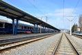 Train station railway of campina prahova county romania Royalty Free Stock Image