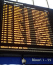 Train station schedule board in an italian Stock Image
