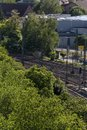 train station tracks trains and infrastructure from top view Royalty Free Stock Photo
