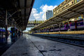 Train stations railroad in thailand people on the move at Royalty Free Stock Photos