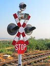 Train stop sign for the railway Royalty Free Stock Photo