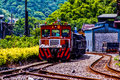 The train stopped on the tracks there are a of pingxi branch railway Royalty Free Stock Photos