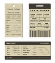 Train ticket set brown isolated on white Stock Images