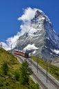 Train to Matterhorn, Zermatt railway to Gornergrat Stock Image