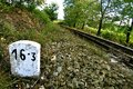 Train track with marker on a sunny day Stock Photography