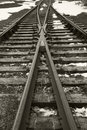Train track in the snow Royalty Free Stock Photo