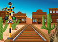 Train track through western town Royalty Free Stock Photo