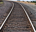 Train Tracks Around a Curve Royalty Free Stock Photo