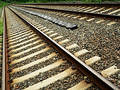 Train Tracks in Diagonal Perspective Stock Photos