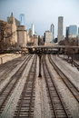 Train tracks downtown city skyline chicago metro winter won t let go in the transit area of Royalty Free Stock Image