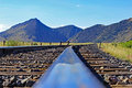 Train Tracks and Mountain View in Montana Royalty Free Stock Photo