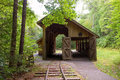 Train tracks for an old mobile logging mill a preserved depot the transport of wood in and out of the forest Royalty Free Stock Photos