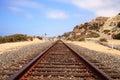 Train tracks run through San Clemente State Beach Royalty Free Stock Photo