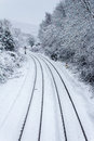 Train Tracks In The Snow Royalty Free Stock Photo