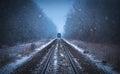 Train tracks in winter mist Royalty Free Stock Photo