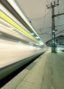 Train traffic with high dynamic motion blur Royalty Free Stock Photo