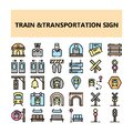 Train Transportation sign pixel perfect icons set in Filled Outline style