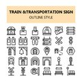 Train Transportation sign pixel perfect icons set in Outline style