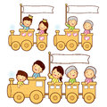 The train trip is an enjoyable family characters Stock Image