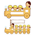 The train trip is an enjoyable kindergarten student education a and life character design series Stock Photography