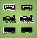 Train and wagon silhouets black white vector illustration Stock Photo