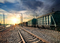 Train wagons freight at the station in the evening Royalty Free Stock Photo