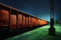 Train wagons at night old Royalty Free Stock Photos