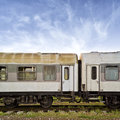 Train wagons old in the sttion Royalty Free Stock Photo