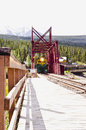 Train on wooden railroad trestle Royalty Free Stock Photo