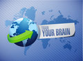 train your brain international globe sign concept Royalty Free Stock Photo