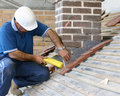 Trainee roofer Royalty Free Stock Photo