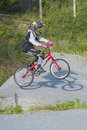 Training bmx image my grandson is an active cyclist the pictures are shot in aremark municipality norway where the track is Stock Image