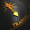 Training business background golden compass needle on a black field pointing to the word d render Stock Photography