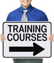 Training courses a man holding a sign indicating Royalty Free Stock Photography