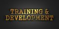 Training and development business concept gold text on dark background d render Stock Photos