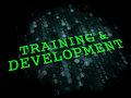 Training and development educational concept business the word in light green color on dark digital background Royalty Free Stock Image