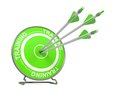 Training educational background three arrows hitting the center of a green target where is written word d render Royalty Free Stock Photography